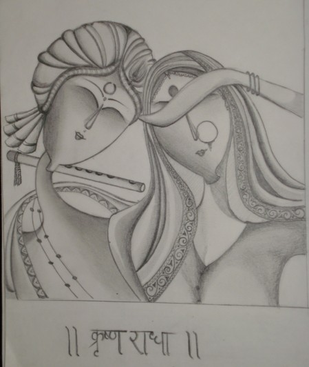 A pencil sketch of lord krishna and his beloved radha inspired from an indian painting this was one of my older sketches and happens to inspire me every
